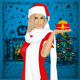 Vector Woman Waiting For Christmas Stock Photography
