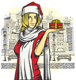 Vector Woman Waiting For Christmas Royalty Free Stock Photos