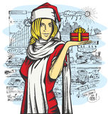 Vector Woman Waiting For Christmas Stock Image