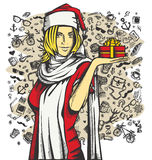 Vector Woman Waiting For Christmas Stock Images