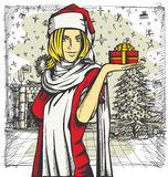 Vector Woman Waiting For Christmas Royalty Free Stock Images