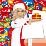 Vector Woman Waiting For Christmas Stock Photo