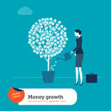 Vector Woman Watering Money Plant Royalty Free Stock Image