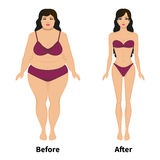 Vector woman before and after weight loss. Vector illustration of a woman before and after weight loss. Female slimming.  on white background. Comparison of Stock Images