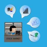 Vector - woman Work check Stock Market Vector Stock Image