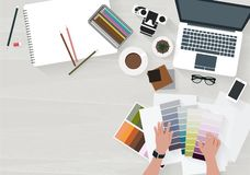 Woman working choose a color decorate. Vector woman working choose a color decorate with laptop royalty free illustration