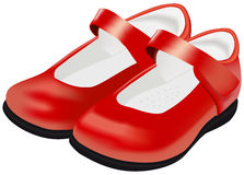 Vector womans red shoes for child on white Royalty Free Stock Images