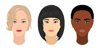 Vector women of different races. Vector women`s heads of different races: caucasian, mongolian and ethiopian Royalty Free Stock Photos