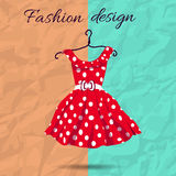 Vector women dress polka dot illustration with Stock Images