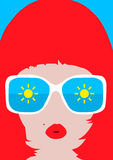 Vector women faces in sunglasses Royalty Free Stock Photos