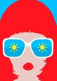 Vector women faces in sunglasses Royalty Free Stock Photos