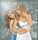Vector Women Gay Couple Against Love Background Stock Photography