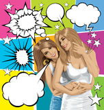 Vector Women Gay Couple With Set Of Speech Bubble Royalty Free Stock Photography
