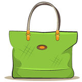 Vector women green canvas bag Royalty Free Stock Images