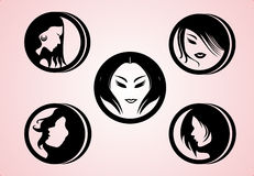 Vector Women Hair Styles silhouette Royalty Free Stock Image