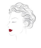 Vector women hairstyles on white background Stock Photo