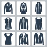 Vector women's clothes icons set. Jacket and overcoat, down-padded coat, vest, sweatshirt, blouse, top, suit jacket and jumper Royalty Free Stock Image