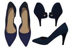 Vector Women`s High Heel Dark Blue Shoes, Fashionable Look Royalty Free Stock Photos