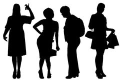 Vector women silhouette. Stock Images