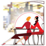 Vector women are sitting in cafe. Vector illustration - Women are sitting in cafe Royalty Free Stock Photography