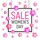 Vector Womens day black frame sale text on white background with paper light pink - red flowers. Royalty Free Stock Photo