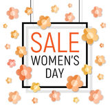 Vector Womens day black frame sale text on white background with paper light yellow - orange flowers. Stock Photos