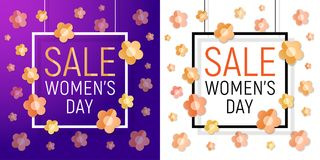 Vector Womens day white paper frame sale text on red background with paper bright yellow - orange flowers. March 8. Womens day frame sale text set on violet and Royalty Free Illustration