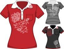 Vector womens short sleeve t-shirt design Royalty Free Stock Photography