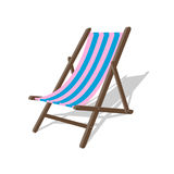 Vector wood beach rest chair. Relax outdoor striped seat illustration. Lounge concept furniture Stock Image