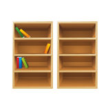 Vector wood bookshelves. Two vector wood bookshelves, one with the books and another one is empty Stock Images
