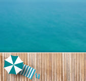 Vector wood deck of sea top view Stock Photography