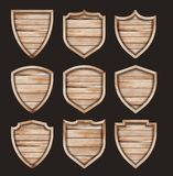 Vector wood shield realistic wooden texture sign royalty free illustration