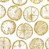 Vector wood splits seamless pattern. Isolated on white backdrop.  with gold glitter for your design, fabric, logo, postcard Stock Photo