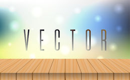 Vector wood table top on bokeh abstract light background Stock Photo
