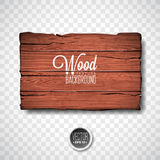 Vector wood texture background design. Natural dark vintage wooden illustration with old style board on transparency background.  stock illustration