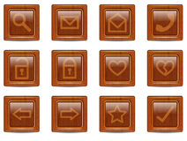 Vector wood web icons set. Bright wooden web icons set. Vector illustration Stock Photos