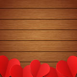 Vector wooden background with red paper hearts Stock Photography