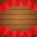 Vector wooden background with red paper hearts Royalty Free Stock Photos