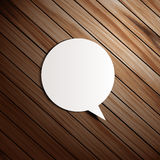 Vector wooden background with speech bubbles paper Stock Images