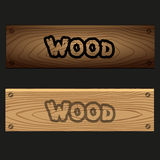 Vector wooden banners boards with texture and text eps10 Stock Images