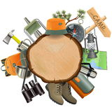 Vector Wooden Board with Camping Accessories Stock Image