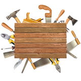 Vector Wooden Board with Hand Tools. Isolated on white background Royalty Free Stock Photo