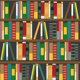 Vector wooden bookshelf with books Royalty Free Stock Photo