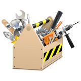 Vector Wooden Box with Tools Stock Images