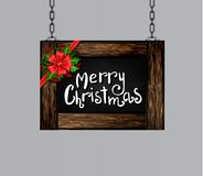 Vector wooden christmas board. Vector realistic illustration of hanging wooden christmas board set with christmas greetings tree and decorations stock illustration