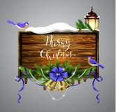 Vector wooden christmas board Royalty Free Stock Photo