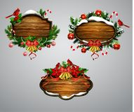 Vector wooden christmas board Royalty Free Stock Photos
