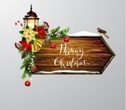 Vector wooden christmas board. Vector realistic illustration of wooden christmas message board with christmas tree sparrow and decorations Royalty Free Stock Image