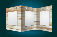Vector wooden exhibition stand Stock Photo