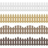 Vector wooden fence. Different types seamless wooden fence. Set of garden fences isolated on white background. Wood boards silhouette construction in flat style stock illustration